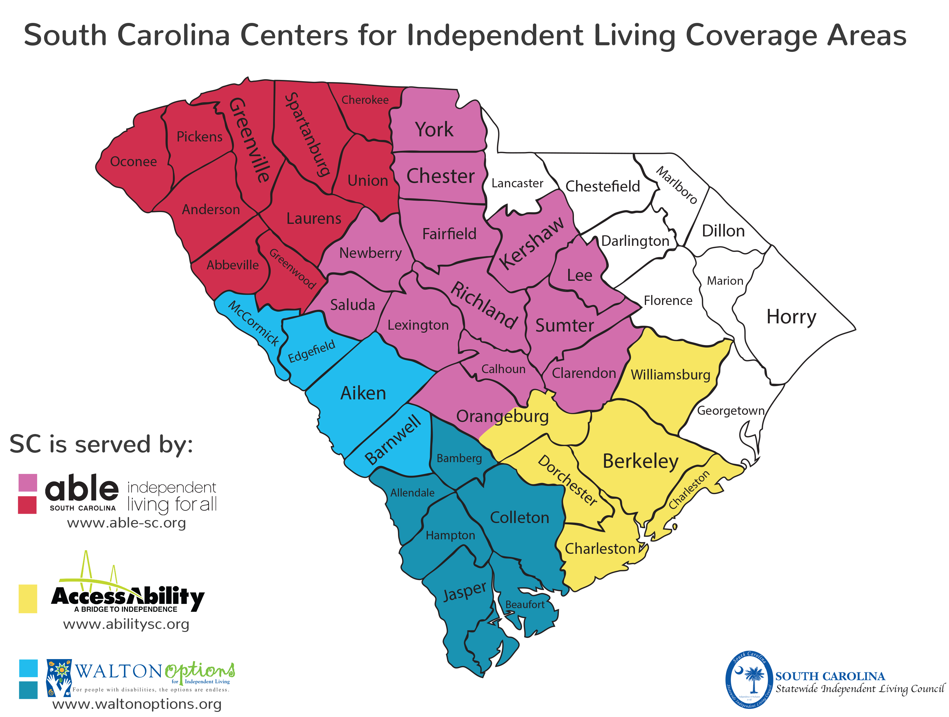 SC Coverage Map that shows Able SC serves: Orangeburg, Clarendon, Calhoun, Sumter, Richland, Lexington, Lee, Kershaw, Fairfield, Newberry, Saluda, Greenwood, Abbeville, Laurens, Anderson, Oconee, Pickens, Greenville, Laurens, Spartanburg, Union, Cherokee. AcccessAbility serves: Charleston, Dorchester, Orangeburg, Berkeley, Williamsburg. Walton Options Serves: Beaufort, Jasper, Colleton, Hampton, Bamberg, Allendale, Barnwell, Aiken, Edgefield, McCormick